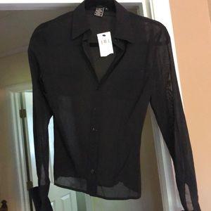 Long sleeve sheer black blouse